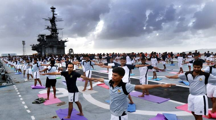 international yoga day 2017, world yoga day 2017, yoga, indian armed forces yoga, ins viraat, mumbai yoga, indian express, indian express news