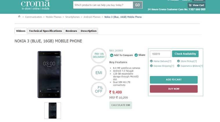 Nokia 3, Nokia 3 online, Nokia 3 price in India, Nokia 3 Croma, Nokia 3 buy online, Nokia, HMD Global, Nokia 3 smartphone, Nokia 3 specs, Nokia 3 features, mobiles, smartphones