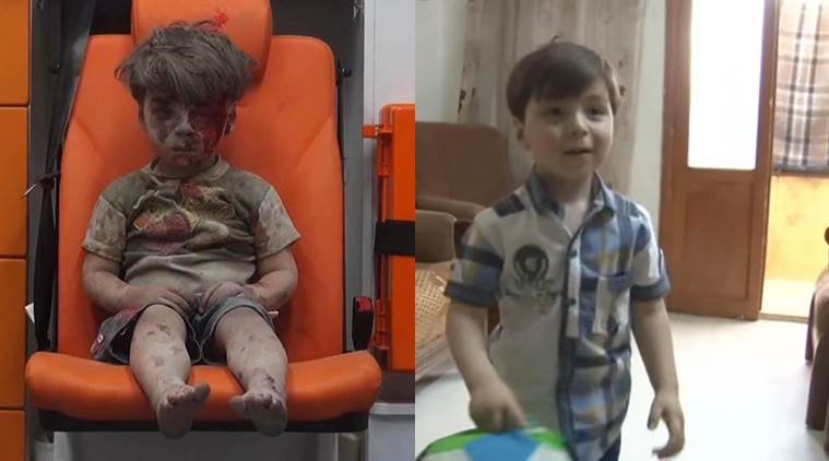 aleppo kid, aleppo kid video, syrian kid video, omran daqneesh, omran daqneesh new video, syria news, indian express news