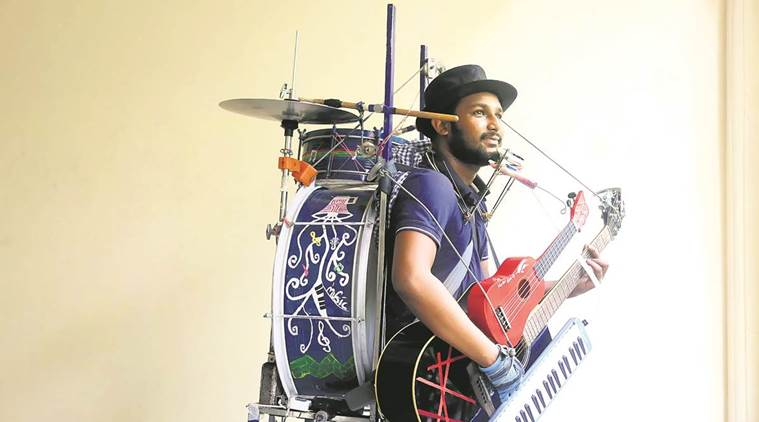 this one man band has music in every finger entertainment news the indian express. Black Bedroom Furniture Sets. Home Design Ideas