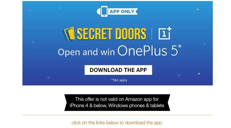 OnePlus 5, OnePlus 5 Amazon contest, Amazon Secret Door OnePlus contest, OnePlus 5 contest, OnePlus 5 Amazon India contest, How to win OnePlus 5 free, OnePlus 5 Amazon India sale, OnePlus 5 Amazon sale, mobiles, smartphones