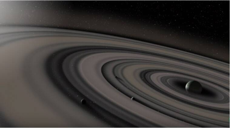 Giant ringed gas planet, 50 times larger than Jupiter, Wide Angle Search for Planets ,  Kilodegree Extremely Little Telescope, Leiden Observatory , distant star PDS 110,