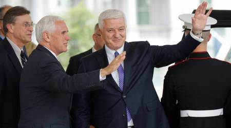 Mike Pence welcomes Montenegro PM to White House
