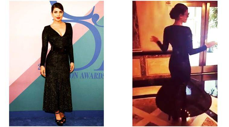 Priyanka Chopra Twirls Her Way To The Cfda Awards In A Shimmery Black Michael Kors Dress Lifestyle News The Indian Express
