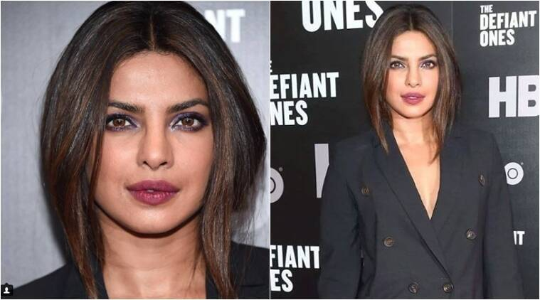 priyanka chopra, priyanka chopra in a double breasted jacket, priyanka chopra monochrome look, celeb fashion, indian express, indian express news