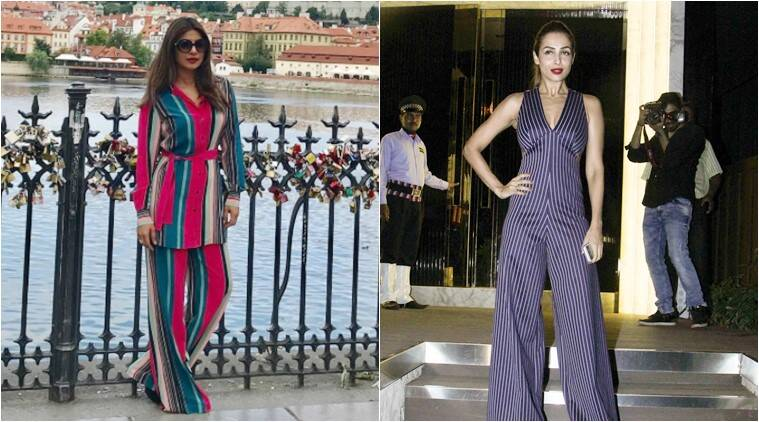 priyanka chopra, malaika arora khan, stripes in fashion, priyanka chopra latest fashion, priyanka chopra in stripes jumpsuit, malaika arora navy blue stripe jumpsuit, indian express, indian express news, trending
