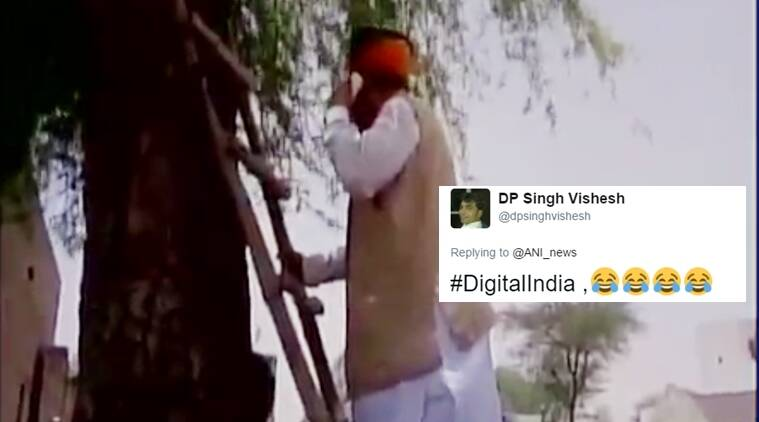 Network woes! Meghwal climbs ladder to speak on phone