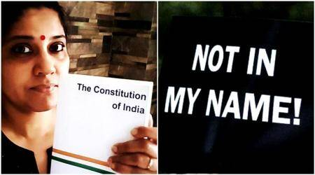 renuka shahane, not in my name, not in my name protest, junaid khan lynching, junaid khan, junaid khan murder, muslim lynching, indian express, indian express news