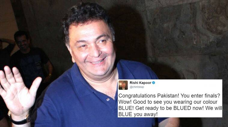 Rishi kapoor, rishi kapoor cricket, rishi kapoor tweets, rishi kapoor pakistan tweets, rishi kapoor trolled by pakistan, rishi kapoor gets trolled for pakistan loss tweet, rishi kapoor trolled on twitter pakistanis, indian express, indian express news, trending, trending globally, pakistan news