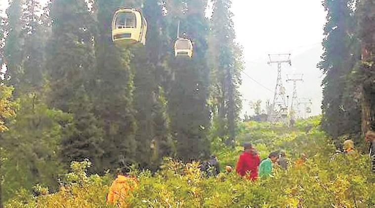ropeway, technical snag in ropeway, cable car, trial run, mock drill, accident, 2 killed in ropeway accident, jk news, jammu news, indian express