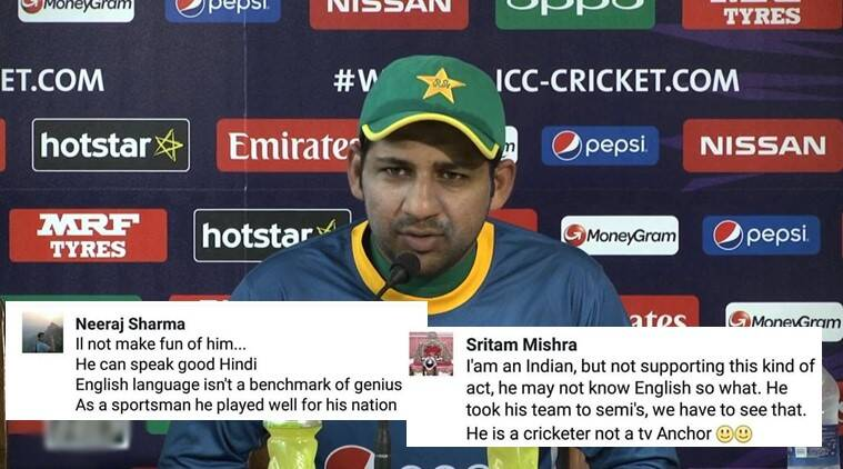 sarfraz ahmed english, pakistan english gets trolled, sarfraz ahmed english gets trolled, indians support pakistan, india pakistan match, india pakistan champions trophy 2017, india pakistan cricket match 2017, india pakistan champions league sarfaraz ahmed english trolled on Twitter, indian express, indian express news, trending,trending globally