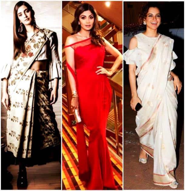 sonam kapoor, kangana ranaut, shilpa shetty, priyanka chopra, sari blouse, stylish blouse bollywood celebs, celeb fashion sari, sari drapes and blouse, indian express, indian express news
