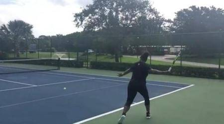 Serena Williams hits the practice courts despite being in third trimester; watch video