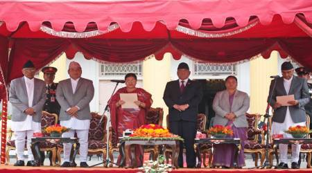 Newly-elected Nepal Prime Minister Sher Bahadur Deuba takes oath of office