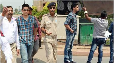 Sidharth Malhotra shoots for Aiyaary in Delhi, tries to educate fans about road safety. See photos
