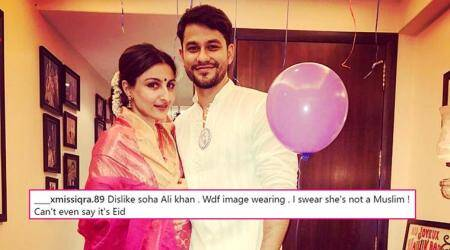 'I swear she's not Muslim': Soha Ali Khan trolled for wearing pink sari