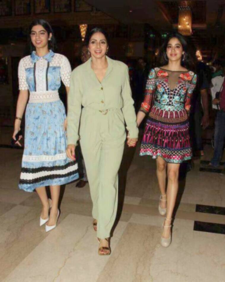 mom trailer, sridevi, sridevi jhanvi, sridevi daughters jhanvi khushi, mom trailer launch pics