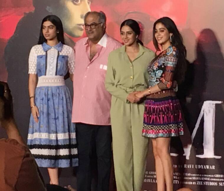 mom trailer, sridevi, sridevi jhanvi, sridevi daughters jhanvi khushi, mom trailer launch pics, sridevi boney kapoor