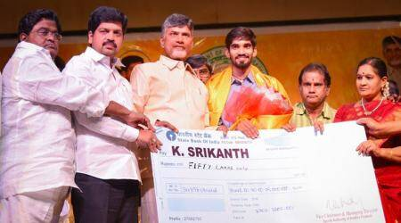 Kidambi Srikanth awarded Rs 50 lakh by Andhra Pradesh Chief Minister Chandrababu Naidu