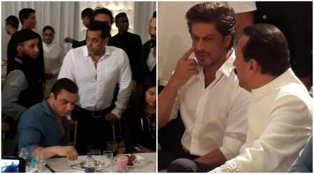 Salman Khan and Shah Rukh Khan attend Baba Siddiqui's Iftar Party but don't give us their famous hug, see photos