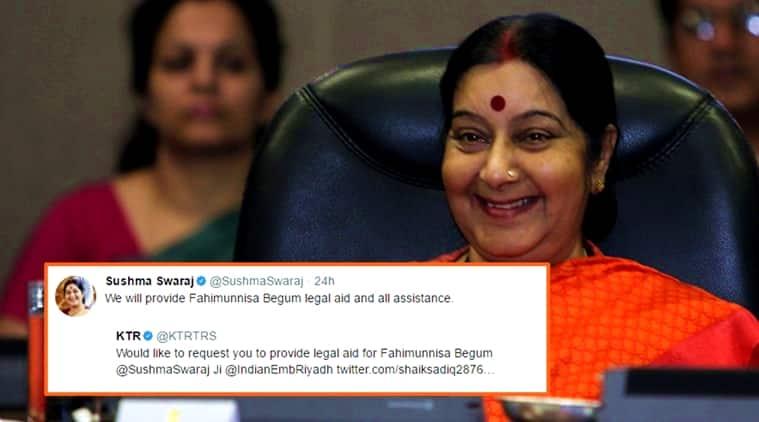sushma swaraj, sushma swaraj twitter, sushma swaraj tweets, sushma swaraj indian embassy, sushma swaraj riyadh, sushma swaraj bahrain, indian express, indian express news