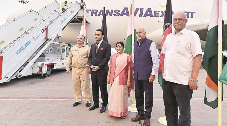sushma swaraj, external affairs minister, ariana flight