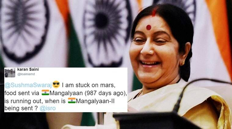 sushma swaraj, sushma swaraj twitter, sushma swaraj tweets, sushma swaraj external affair minister, sushma swaraj twitter help, sushma swaraj tweets help, sushma swaraj help through twitter, sushma swaraj witty tweets, sushma swaraj funny tweets, indian express, indian express news, trending news, india news