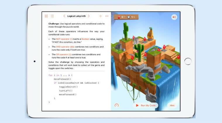 Apple, Swift Playgrounds, educational coding, iPad,learning coding fundamentals, Bluetooth enabled robots