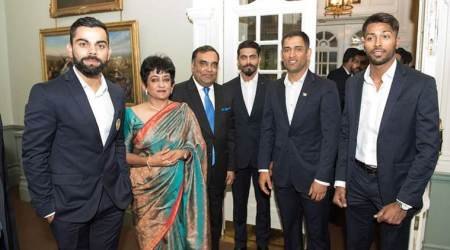 virat kohli, team india, bcci, shikhar dhawan, mahendra singh dhoni, ms dhoni, anil kumble, indian high commission, cricket, sports news, indian express