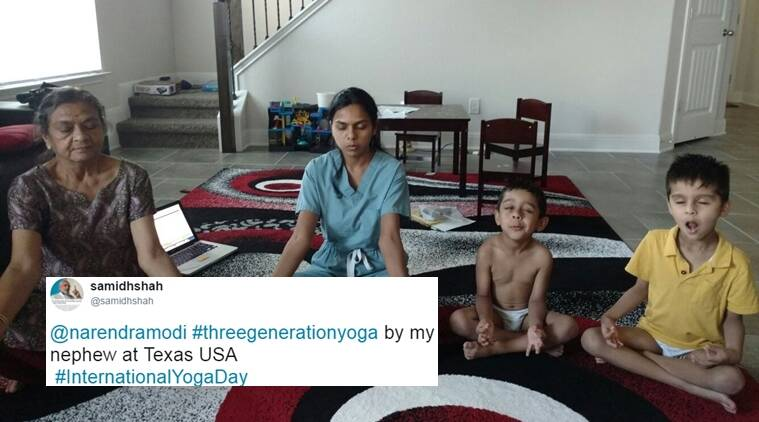 international yoga day 2017, narendra modi, three generations yoga, twitter reactions, indian express, indian express news
