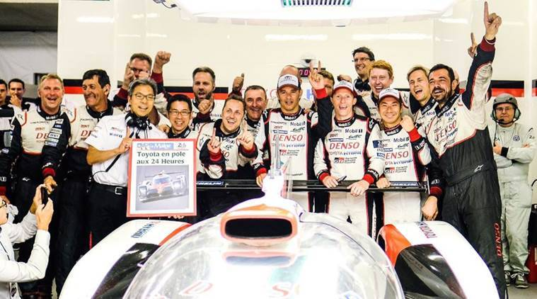 Image result for Kamui Kobayashi record lap puts Toyota on pole at Le Mans