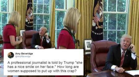 WATCH: When Donald Trump interrupted a call with Irish PM to compliment female journalist's smile