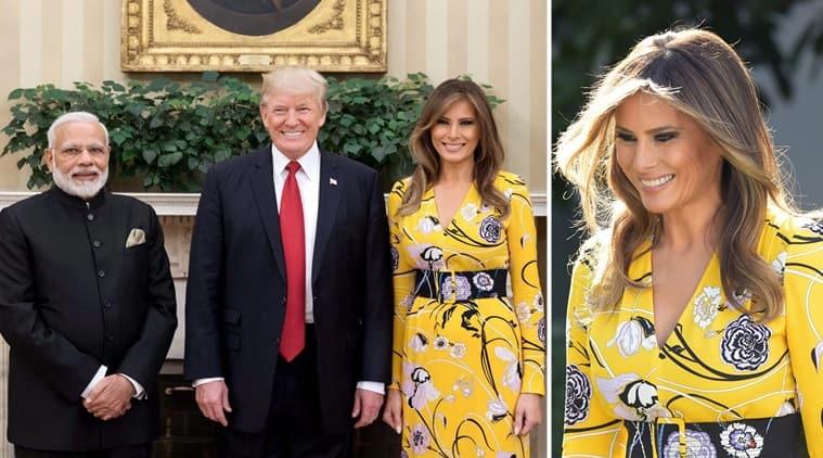 Melania trump greets pm narendra modi in a cheery yellow floral melania trump narendra modi dinald trump modi meets trump melania fashion m4hsunfo