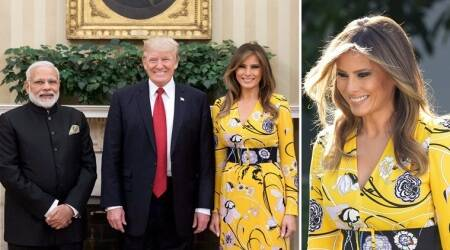 Melania Trump greets PM Narendra Modi in a cheery yellow floral-print gown