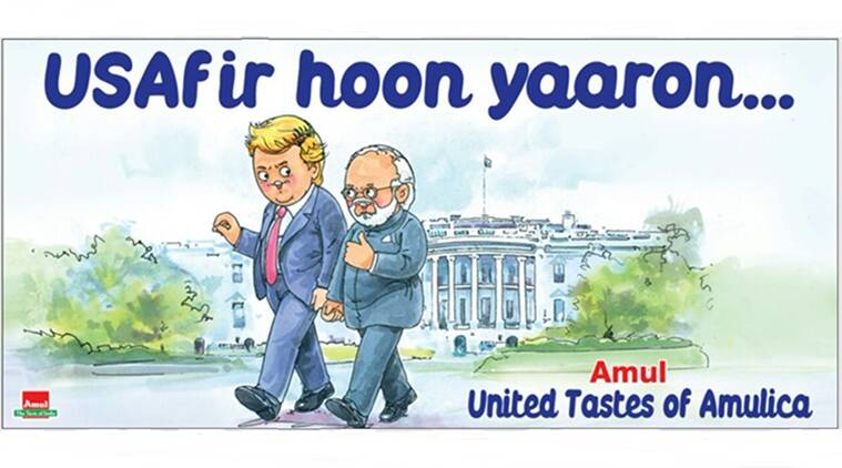 donald trump, narendra modi, us visit, trump modi hug, donald trump narendra modi amul, amul cartoon modi trump, indian express, indian express news