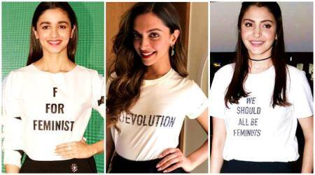 priyanka chopra, deepika padukone, anushka sharma, alia bhatt, parineeti chopra, sonakshi sinha, esha gupta, bipasha basu, celeb fashion, t shirt quotes celebrities, bollywood celebs t shirt quotes fashion, fashion, lifestyle, indian express, indian express news
