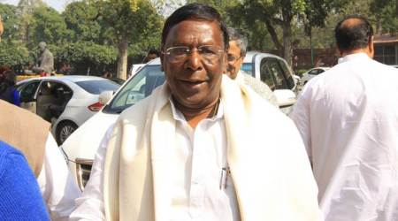 Puducherry CM V Narayanswamy calls on Home Minister Rajnath Singh in Delhi