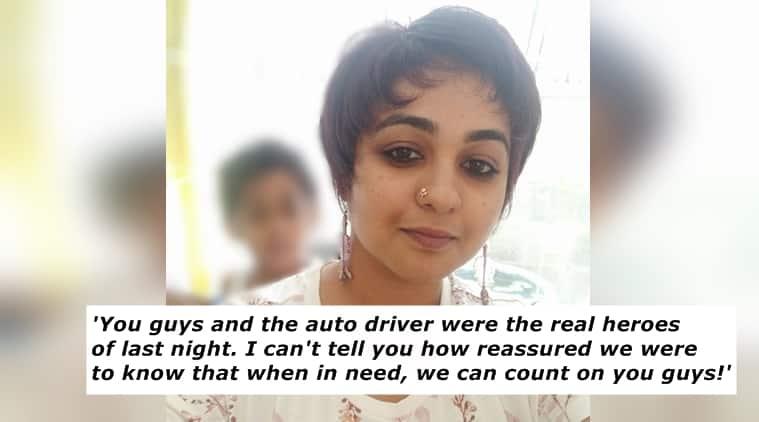 bengaluru police, bengaluru police helped a woman, aparna vinod, twitter reactions, indian express, indian express news