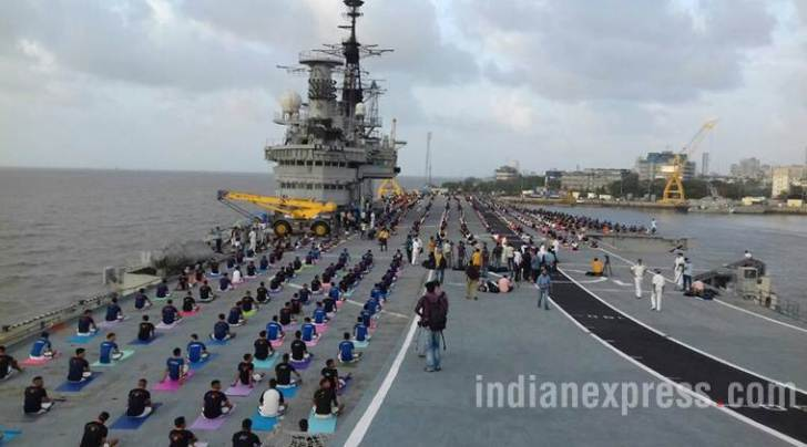 yoga day, international yoga day 2017, yoga day ins viraat, indian army yoga day, narendra modi, yogi adityanath, yoga day photos, indian express news