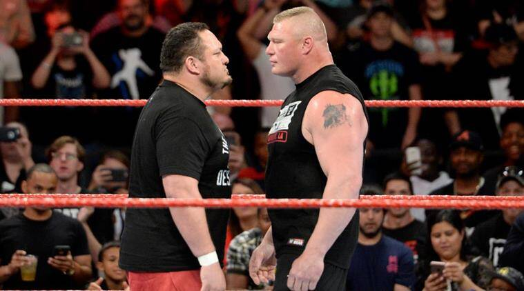 wwe raw, brock lesnar, samoa joe, indian express
