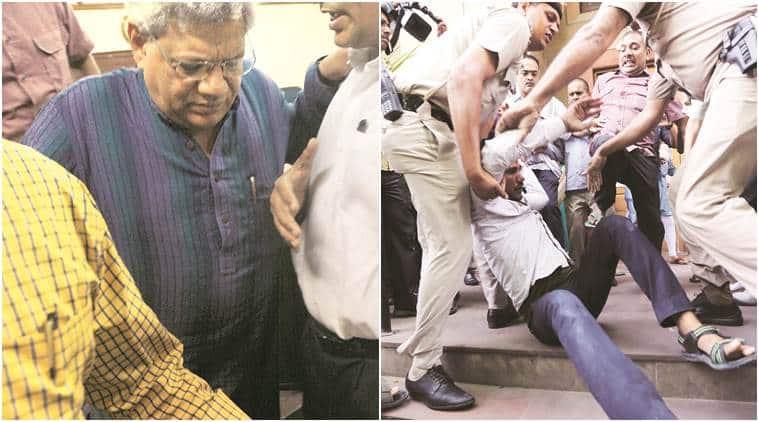 sitaram yechury, yechury press conference, yechury heckled, yechury video, CPM press conference, sitaram yechury heckled, sitaram yechury manhandled