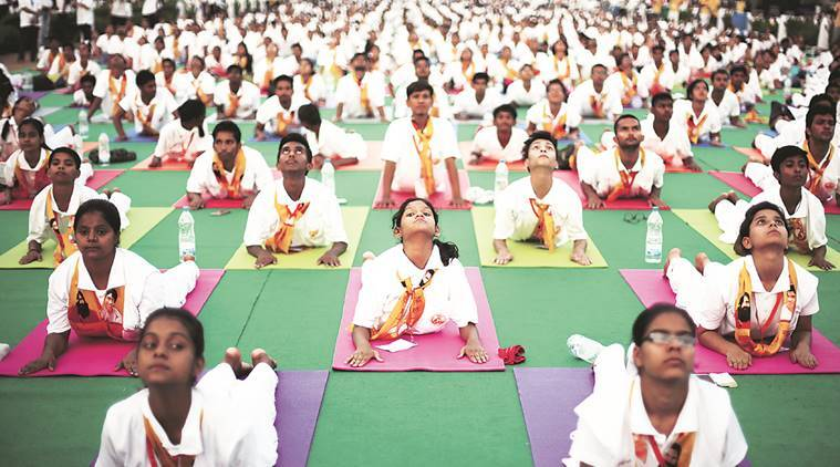international yoga day, world yoga day, yoga day celebrations, yoga day school kids, punjab yoga day