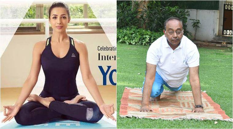 International Yoga Day 2017, yoga day, idy 2017, narendra modi, celebrities doing yoga, malaika arora, vijay goel, baba ramdev, toga day photos indian express, yoga day photos