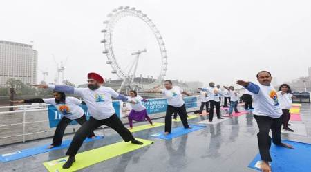 United Kingdom marks International Yoga Day at London Eye, Trafalgar Square