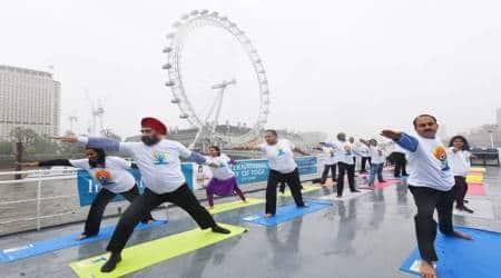 United Kingdom marks International Yoga Day at London Eye, TrafalgarSquare