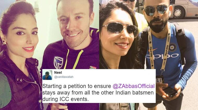 icc champions tophy 2017, india vs sri lanka, india lost sri lanka, zainab abbas selfies, zainab abbas selfies with virat kohli, zainab abbas selfies with ab de villiers virat kohli, zainab abbas cricket twitter, indian express, indian express news, trending, trending news