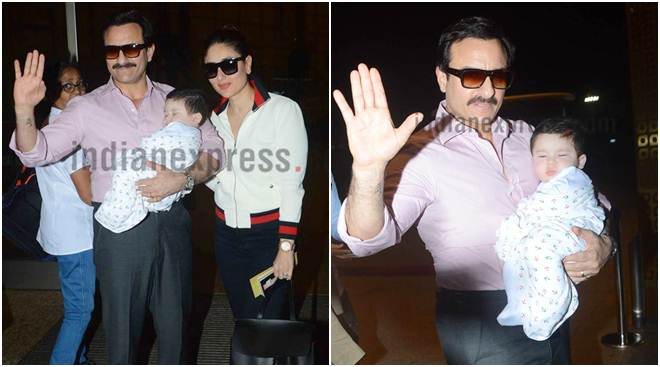 Taimur Ali Khan looks enchanting in his father Saif Ali Khan's arms as they are ready to set off on a vacation