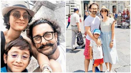 Aamir Khan is off to Italy with wife Kiran Rao, son Azad Rao Khan taking a break from Thugs of Hindostan shooting. See photos