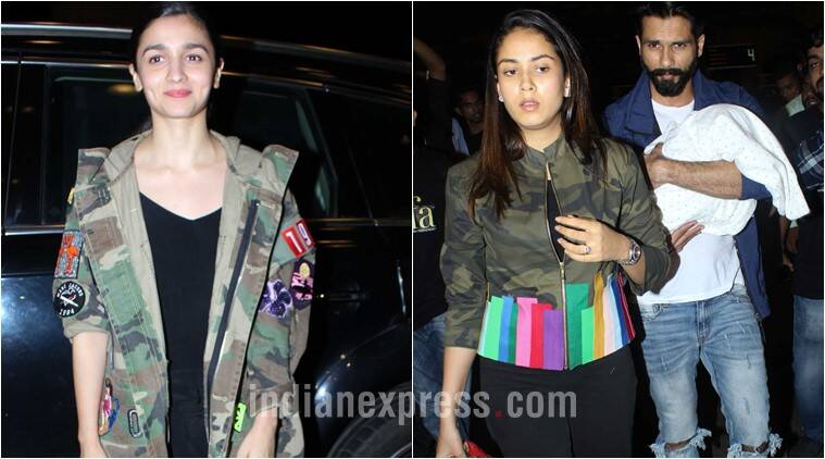 Alia Bhatt's comfy camouflage jacket or Mira Rajput's rainbow one — what will you pick for the long flight?