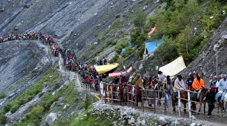 Around 800 pilgrims pay obeisance at Amarnath cave